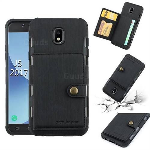 Brush Multi-function Leather Phone Case for Samsung Galaxy J5 2017 J530 Eurasian - Black