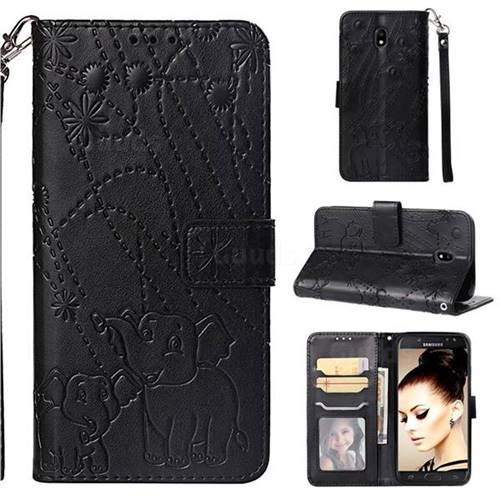 Embossing Fireworks Elephant Leather Wallet Case for Samsung Galaxy J5 2017 J530 Eurasian - Black