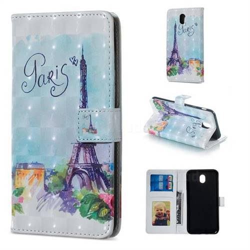 Paris Tower 3D Painted Leather Phone Wallet Case for Samsung Galaxy J5 2017 J530 Eurasian