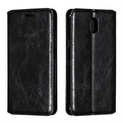 Retro Slim Magnetic Crazy Horse PU Leather Wallet Case for Samsung Galaxy J5 2017 J530 Eurasian - Black