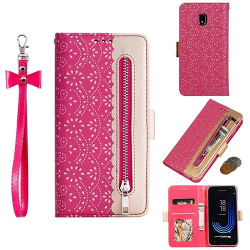 Luxury Lace Zipper Stitching Leather Phone Wallet Case for Samsung Galaxy J5 2017 J530 Eurasian - Rose
