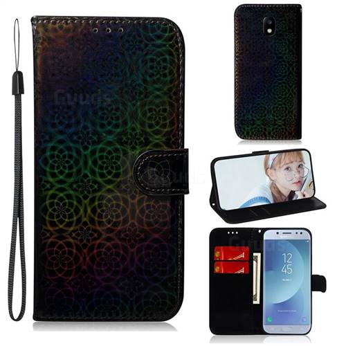 Laser Circle Shining Leather Wallet Phone Case for Samsung Galaxy J5 2017 J530 Eurasian - Black