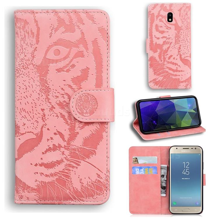 Intricate Embossing Tiger Face Leather Wallet Case for Samsung Galaxy J5 2017 J530 Eurasian - Pink