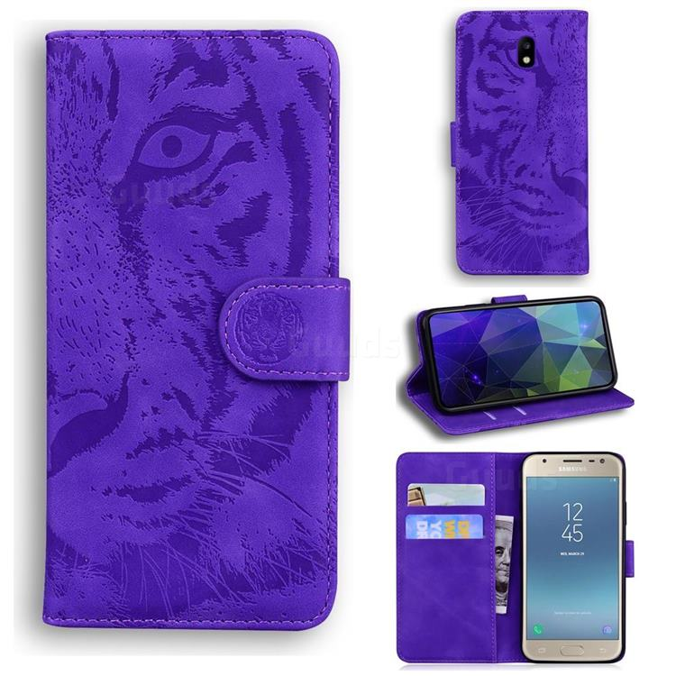 Intricate Embossing Tiger Face Leather Wallet Case for Samsung Galaxy J5 2017 J530 Eurasian - Purple