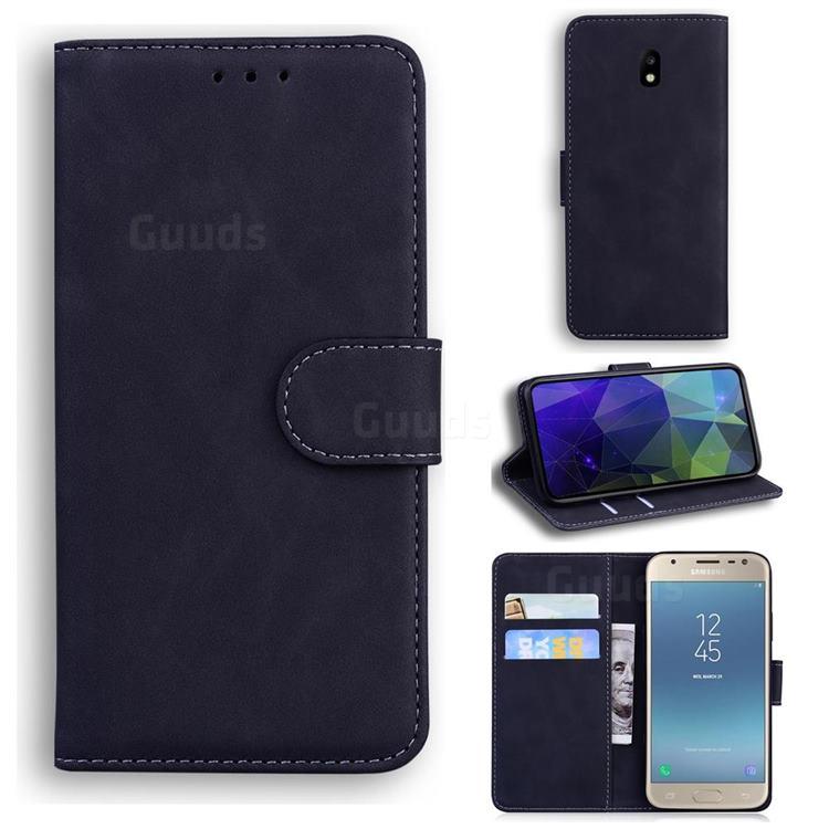 Retro Classic Skin Feel Leather Wallet Phone Case for Samsung Galaxy J5 2017 J530 Eurasian - Black