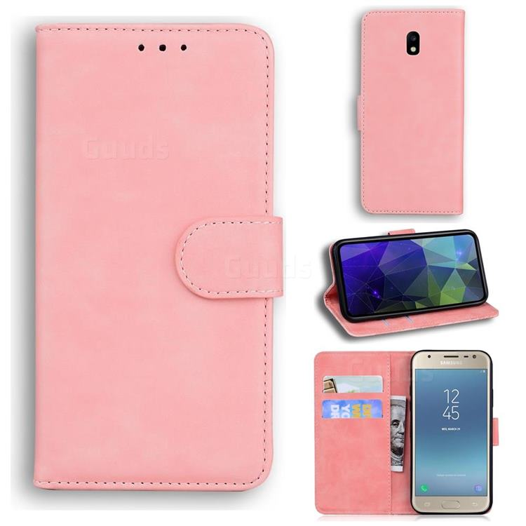 Retro Classic Skin Feel Leather Wallet Phone Case for Samsung Galaxy J5 2017 J530 Eurasian - Pink
