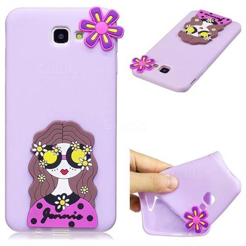 Violet Girl Soft 3D Silicone Case for Samsung Galaxy J5 Prime