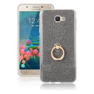 Luxury Soft TPU Glitter Back Ring Cover with 360 Rotate Finger Holder Buckle for Samsung Galaxy J5 Prime - Black