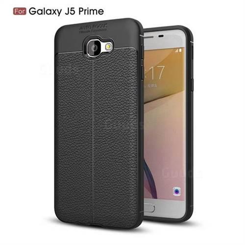 Luxury Auto Focus Litchi Texture Silicone TPU Back Cover for Samsung Galaxy J5 Prime - Black