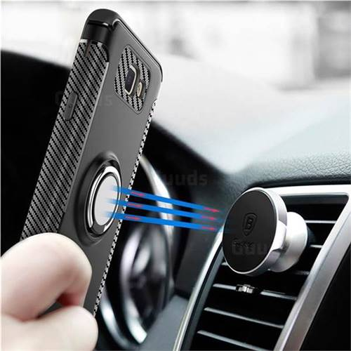 Armor Anti Drop Carbon PC + Silicon Invisible Ring Holder Phone Case for Samsung Galaxy J5