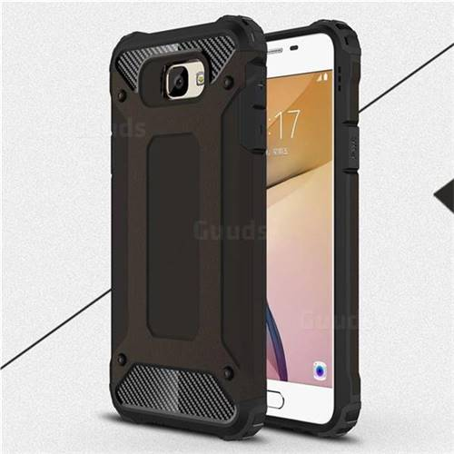 King Kong Armor Premium Shockproof Dual Layer Rugged Hard Cover for Samsung Galaxy J5 Prime - Black Gold