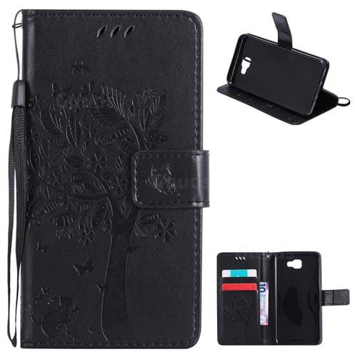 Embossing Butterfly Tree Leather Wallet Case for Samsung Galaxy J5 Prime - Black