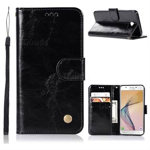 Luxury Retro Leather Wallet Case for Samsung Galaxy J5 Prime - Black