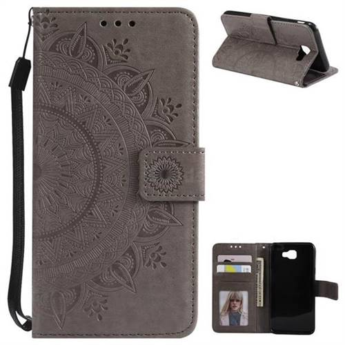 Intricate Embossing Datura Leather Wallet Case for Samsung Galaxy J5 Prime - Gray
