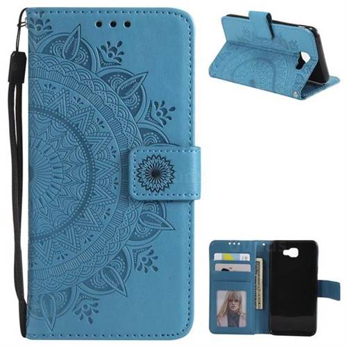 Intricate Embossing Datura Leather Wallet Case for Samsung Galaxy J5 Prime - Blue