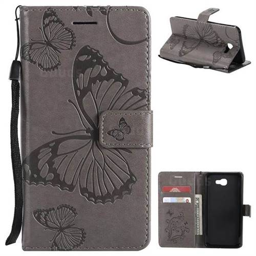 Embossing 3D Butterfly Leather Wallet Case for Samsung Galaxy J5 Prime - Gray