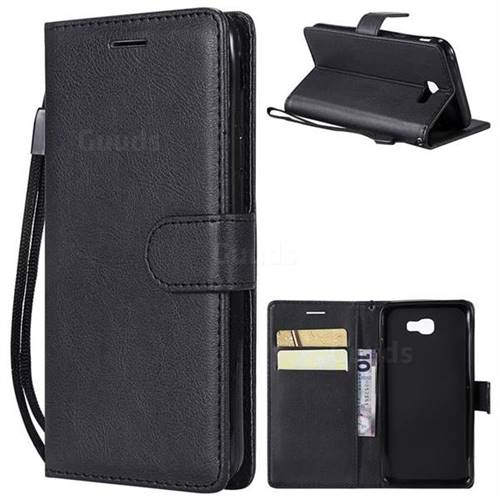 Retro Greek Classic Smooth PU Leather Wallet Phone Case for Samsung Galaxy J5 Prime - Black
