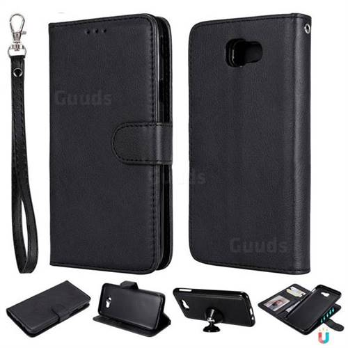 Retro Greek Detachable Magnetic PU Leather Wallet Phone Case for Samsung Galaxy J5 Prime - Black
