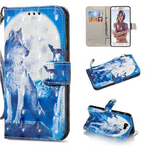 Ice Wolf 3D Painted Leather Wallet Phone Case for Samsung Galaxy J5 Prime