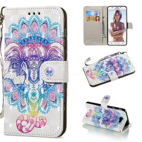 Colorful Elephant 3D Painted Leather Wallet Phone Case for Samsung Galaxy J5 Prime