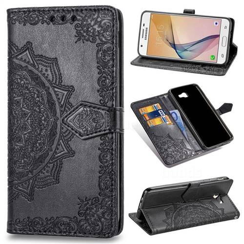 Embossing Imprint Mandala Flower Leather Wallet Case for Samsung Galaxy J5 Prime - Black