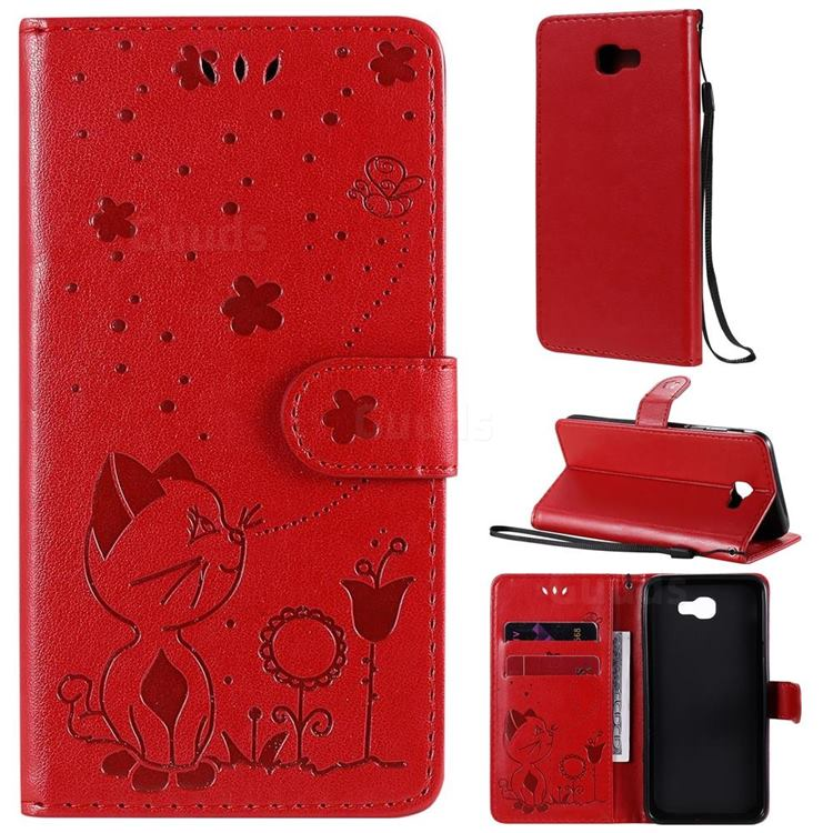 Embossing Bee and Cat Leather Wallet Case for Samsung Galaxy J5 Prime - Red