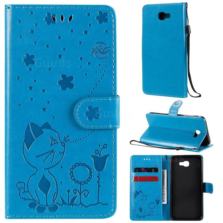 Embossing Bee and Cat Leather Wallet Case for Samsung Galaxy J5 Prime - Blue