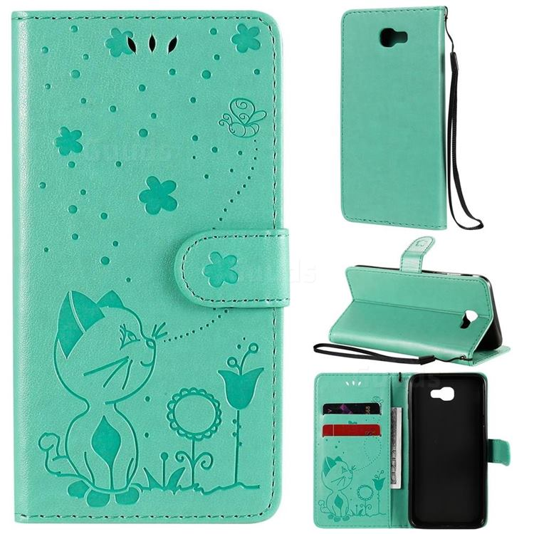 Embossing Bee and Cat Leather Wallet Case for Samsung Galaxy J5 Prime - Green