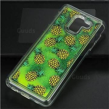 Pineapple Glassy Glitter Quicksand Dynamic Liquid Soft Phone Case for Samsung Galaxy J6 (2018) SM-J600F