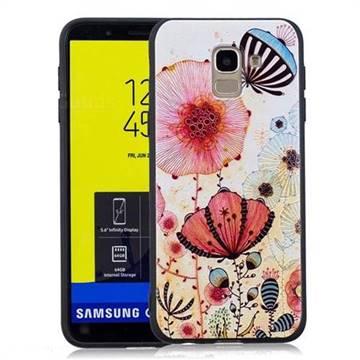 Pink Flower 3D Embossed Relief Black Soft Back Cover for Samsung Galaxy J6 (2018) SM-J600F