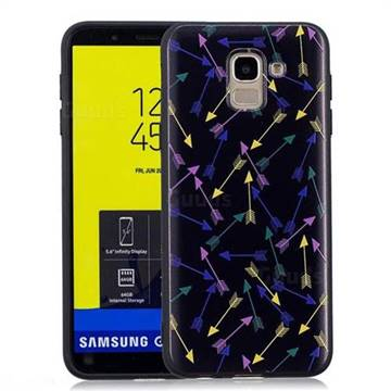 Colorful Arrows 3D Embossed Relief Black Soft Back Cover for Samsung Galaxy J6 (2018) SM-J600F