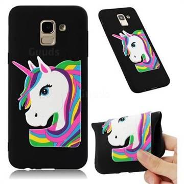 Rainbow Unicorn Soft 3D Silicone Case for Samsung Galaxy J6 (2018) SM-J600F - Black