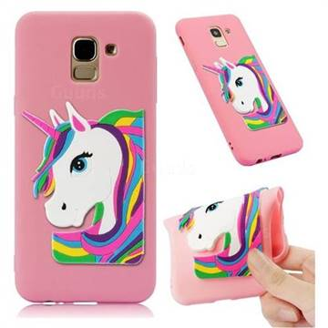 Rainbow Unicorn Soft 3D Silicone Case for Samsung Galaxy J6 (2018) SM-J600F - Pink
