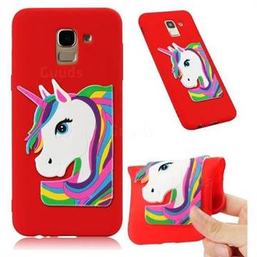 Rainbow Unicorn Soft 3D Silicone Case for Samsung Galaxy J6 (2018) SM-J600F - Red
