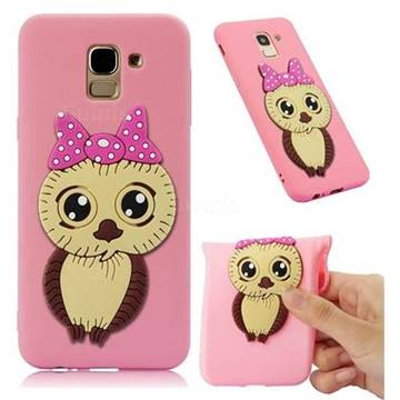 Bowknot Girl Owl Soft 3D Silicone Case for Samsung Galaxy J6 (2018) SM-J600F - Pink