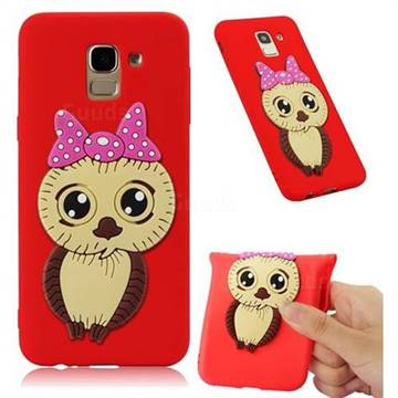 Bowknot Girl Owl Soft 3D Silicone Case for Samsung Galaxy J6 (2018) SM-J600F - Red