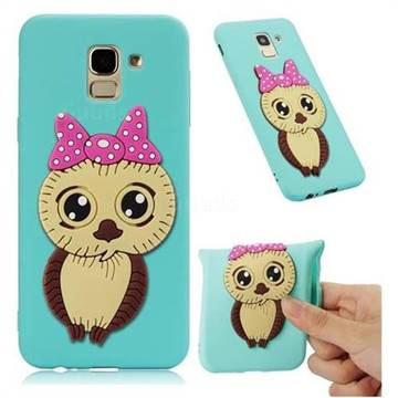 Bowknot Girl Owl Soft 3D Silicone Case for Samsung Galaxy J6 (2018) SM-J600F - Sky Blue