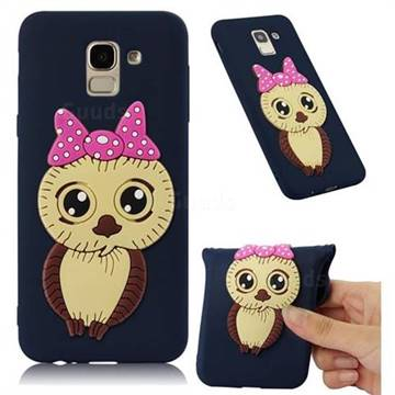 Bowknot Girl Owl Soft 3D Silicone Case for Samsung Galaxy J6 (2018) SM-J600F - Navy
