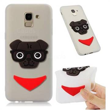 Glasses Dog Soft 3D Silicone Case for Samsung Galaxy J6 (2018) SM-J600F - Translucent White