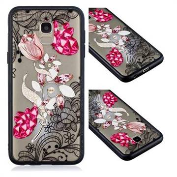 Tulip Lace Diamond Flower Soft TPU Back Cover for Samsung Galaxy J6 (2018) SM-J600F