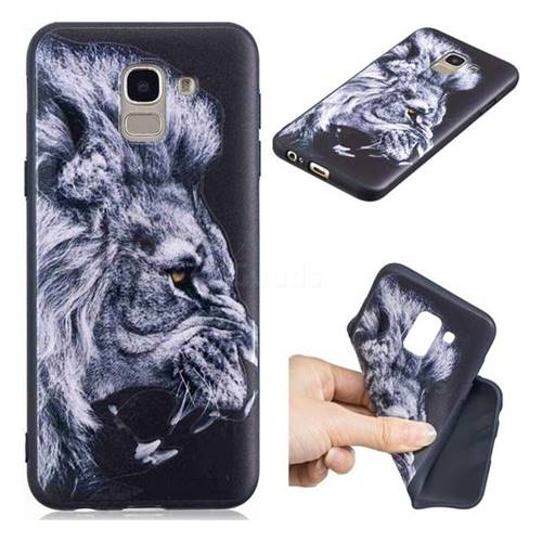 Lion 3D Embossed Relief Black TPU Cell Phone Back Cover for Samsung Galaxy J6 (2018) SM-J600F