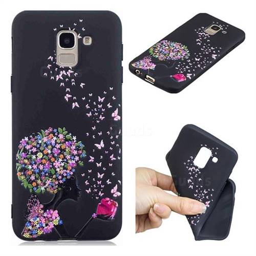 Corolla Girl 3D Embossed Relief Black TPU Cell Phone Back Cover for Samsung Galaxy J6 (2018) SM-J600F