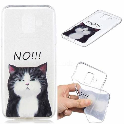 Cat Say No Clear Varnish Soft Phone Back Cover for Samsung Galaxy J6 (2018) SM-J600F