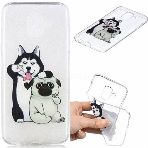 Selfie Dog Clear Varnish Soft Phone Back Cover for Samsung Galaxy J6 (2018) SM-J600F