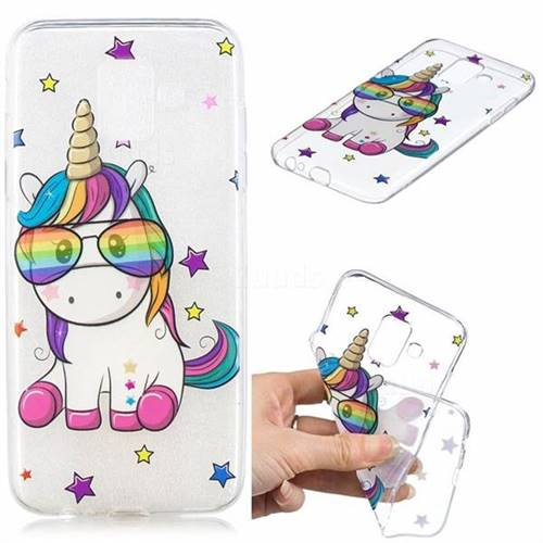 Glasses Unicorn Clear Varnish Soft Phone Back Cover for Samsung Galaxy J6 (2018) SM-J600F