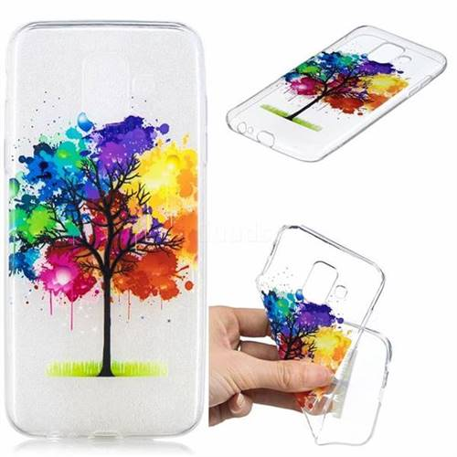 Oil Painting Tree Clear Varnish Soft Phone Back Cover for Samsung Galaxy J6 (2018) SM-J600F