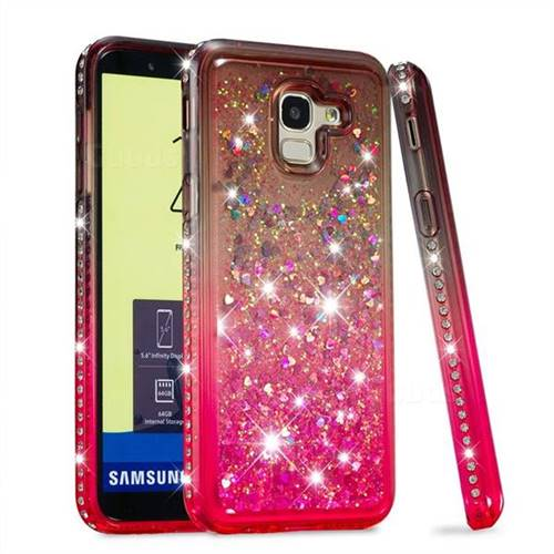 Diamond Frame Liquid Glitter Quicksand Sequins Phone Case for Samsung Galaxy J6 (2018) SM-J600F - Gray Pink
