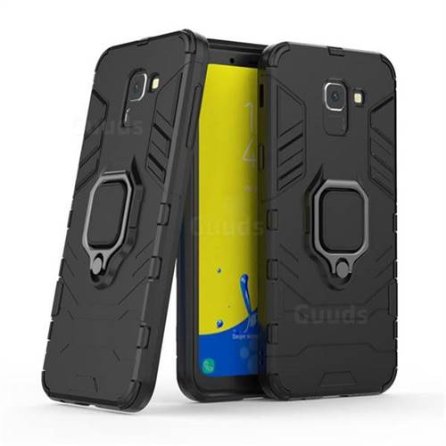 Black Panther Armor Metal Ring Grip Shockproof Dual Layer Rugged Hard Cover for Samsung Galaxy J6 (2018) SM-J600F - Black