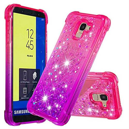 Rainbow Gradient Liquid Glitter Quicksand Sequins Phone Case for Samsung Galaxy J6 (2018) SM-J600F - Pink Purple