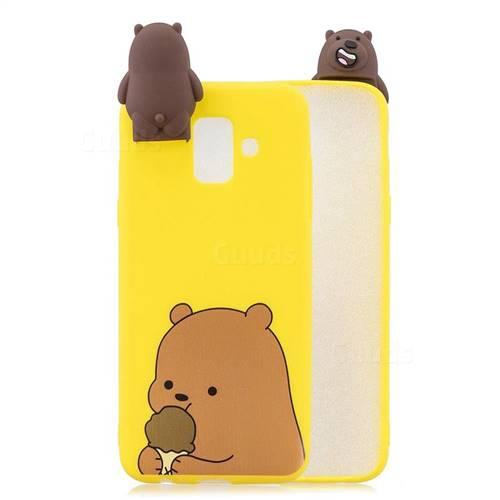 Brown Bear Soft 3D Climbing Doll Stand Soft Case for Samsung Galaxy J6 (2018) SM-J600F